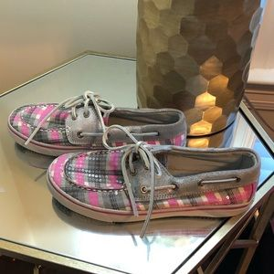 Pink and Gray Sequin Sperry Top Sider size 3